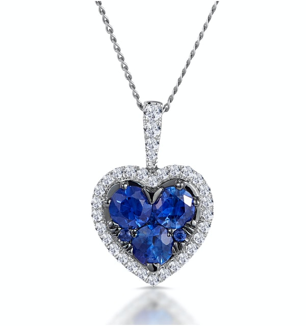 0.80ct Sapphire Asteria Diamond Heart Pendant in 18K White Gold - image 1