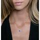 0.80ct Sapphire Asteria Diamond Heart Pendant in 18K White Gold - image 3
