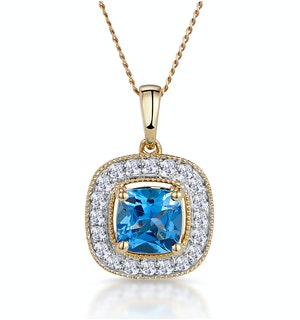 2.50ct Blue Topaz Asteria Diamond Halo Pendant Necklace in 18K Gold