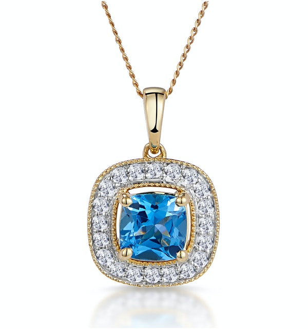 2.50ct Blue Topaz Asteria Diamond Halo Pendant Necklace in 18K Gold - image 1