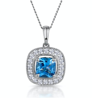 2.50ct Blue Topaz Asteria Diamond Halo Pendant Necklace in 18KW Gold