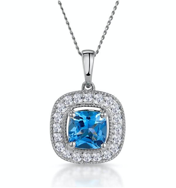 2.50ct Blue Topaz Asteria Diamond Halo Pendant Necklace in 18KW Gold - image 1