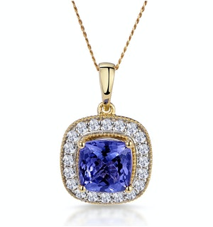 1.60ct Tanzanite Asteria Diamond Halo Pendant Necklace in 18K Gold