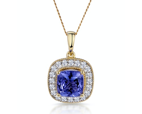 Diamond Halo Yellow Gold Necklaces and Pendants