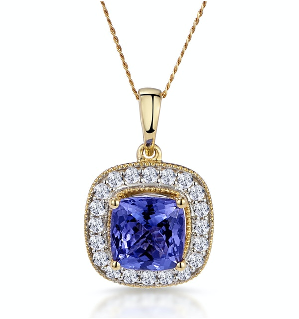 1.60ct Tanzanite Asteria Diamond Halo Pendant Necklace in 18K Gold - image 1