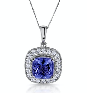 1.60ct Tanzanite Asteria Diamond Halo Pendant Necklace in 18KW Gold