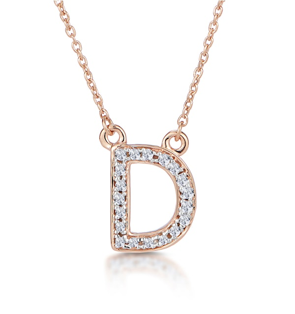 Initial 'D' Necklace Diamond Encrusted Pave Set in 9K Rose Gold - image 1