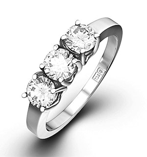 Chloe 3 Stone Trilogy Lab Diamond Ring 0.75CT H/Si in 18K White Gold