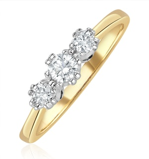 Emily 18K Gold 3 Stone Diamond Ring 0.33CT H/SI