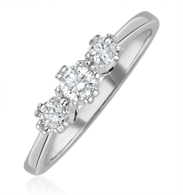Emily 18K White Gold 3 Stone Diamond Ring 0.33CT H/SI - image 1