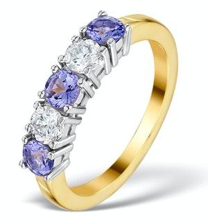 Tanzanite 0.75CT and Diamond Ring 0.40CT 18K Gold FT26