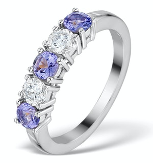 Tanzanite 0.75CT and Diamond Ring 0.40CT 18K White Gold FT26