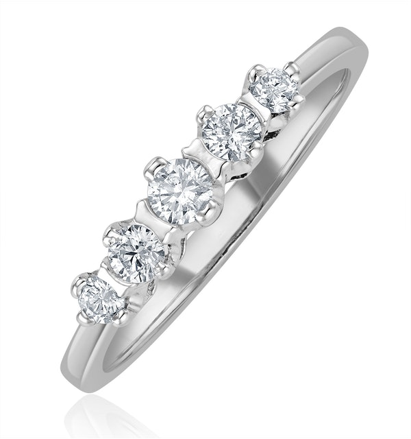 Grace 18K White Gold 5 Stone Diamond Eternity Ring 0.33CT - image 1