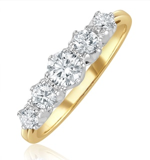 Grace 18K Gold 5 Stone Diamond Eternity Ring 0.75CT