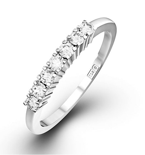 Chloe 18K White Gold 7 Stone Diamond Eternity Ring 0.50CT G/VS - image 1