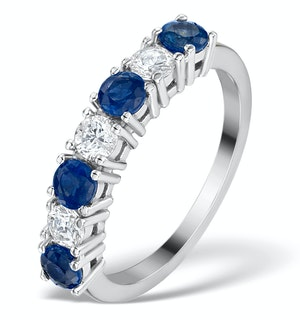 Sapphire 1CT and Diamond Ring 0.50CT 18K White Gold FT32