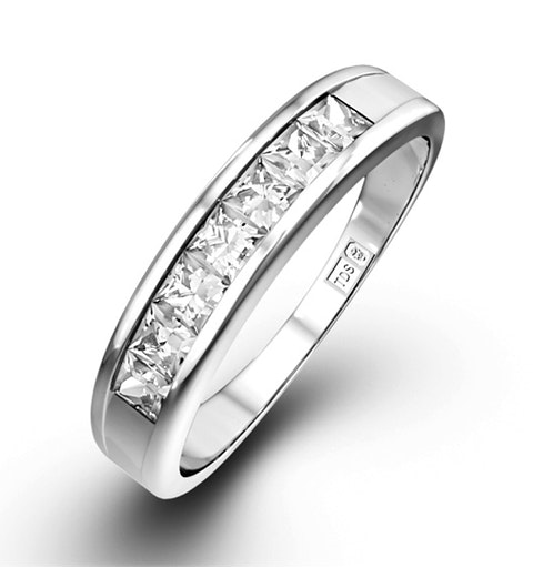 18K White Gold Princess Diamond Half Eternity Ring 0.50CT G/VS - image 1