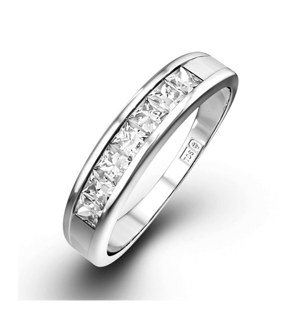 18K White Gold Princess Diamond Half Eternity Ring 0.50CT H/SI - image 1
