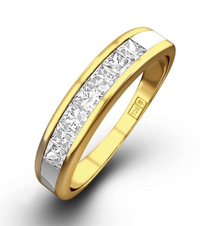 18K Gold Princess Diamond Half Eternity Ring 0.50CT G/VS