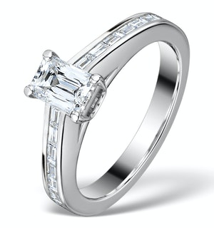 Sidestone Engagement Ring 1.20ct Prince Cut SI Diamond 18K White Gold
