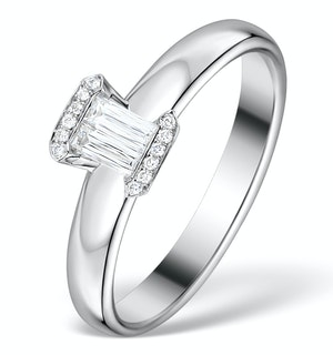 0.30ct Ideal Prince Cut Diamond and 18K White Gold H/SI Ring FT51