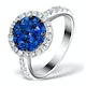 0.84ct Diamond 1.60ct Sapphire and 18K White Gold Circles Ring - image 1