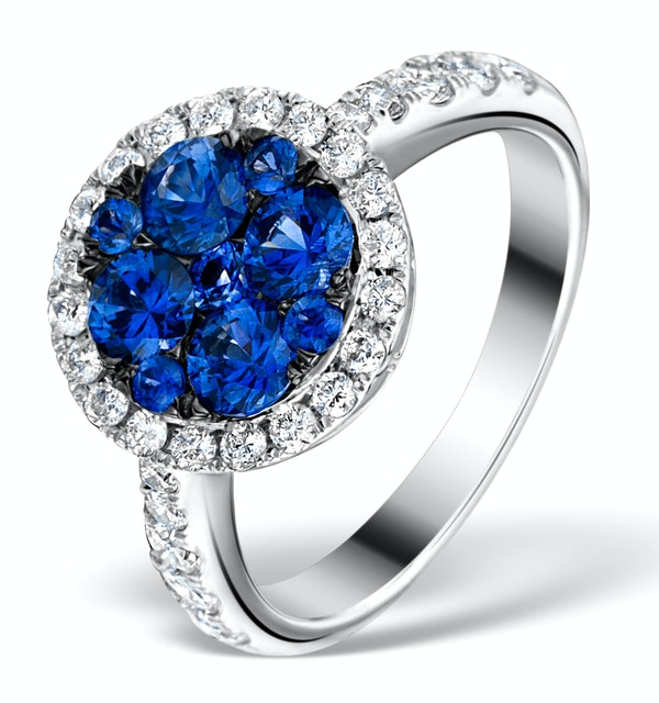 0.84ct Diamond 1.60ct Sapphire and 18K White Gold Circles Ring - image 1