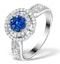 0.70ct Diamond 0.50ct Sapphire and 18K White Gold Circles Ring - image 1
