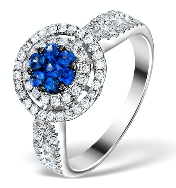0.70ct Diamond 0.50ct Sapphire and 18K White Gold Circles Ring - image 1