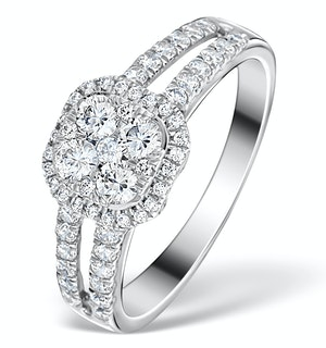 Halo Engagement Ring Galileo 0.90ct of Diamonds in 18K Gold - FT73