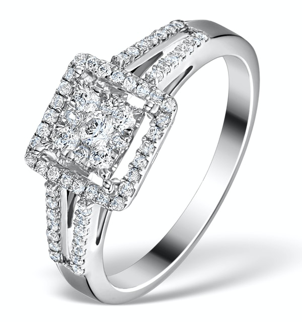 Halo Engagement Ring Galileo 0.50ct of Diamonds in 18K Gold - FT75 - image 1