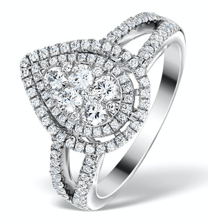 Halo Engagement Ring Galileo with 1ct of Diamonds in 18KW Gold - FT77