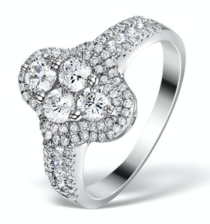Halo Engagement Ring Galileo 1.25ct Diamonds 18KW White Gold FT78