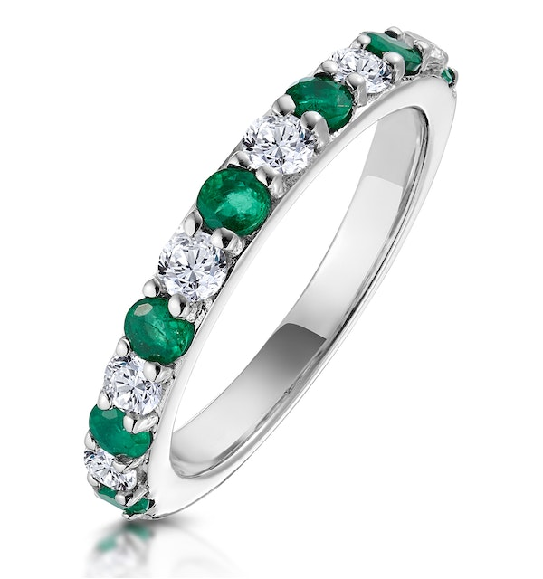 Emerald and 0.50ct Diamond Asteria Eternity Ring 18K White Gold - image 1