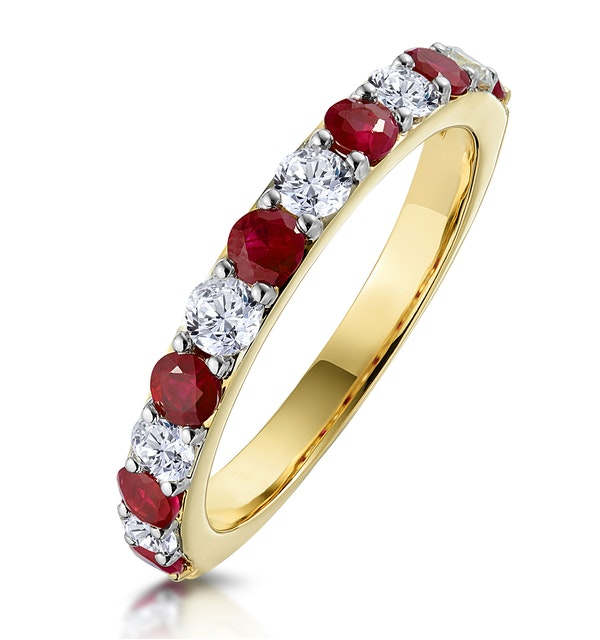 Ruby and 0.50ct Diamond Asteria Eternity Ring in 18K Gold - image 1