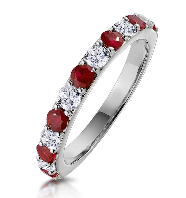 Ruby and 0.50ct Diamond Asteria Eternity Ring in 18K White Gold - image 1