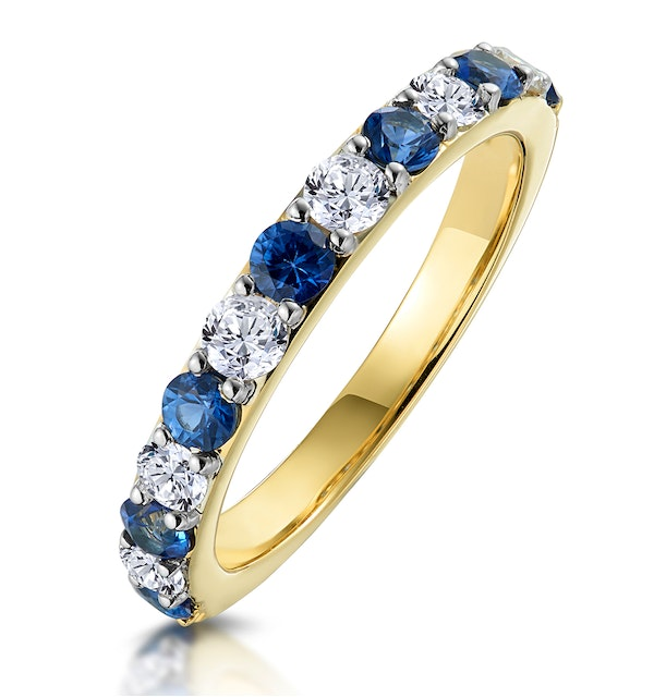 Sapphire and 0.50ct Diamond Asteria Eternity Ring in 18K Gold - image 1