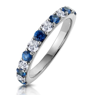 Sapphire and 0.50ct Diamond Asteria Eternity Ring in 18K White Gold
