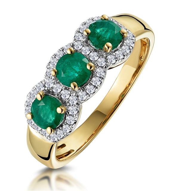 Emerald and Diamond Halo Trilogy Ring in 18K Gold - Asteria Collection - image 1