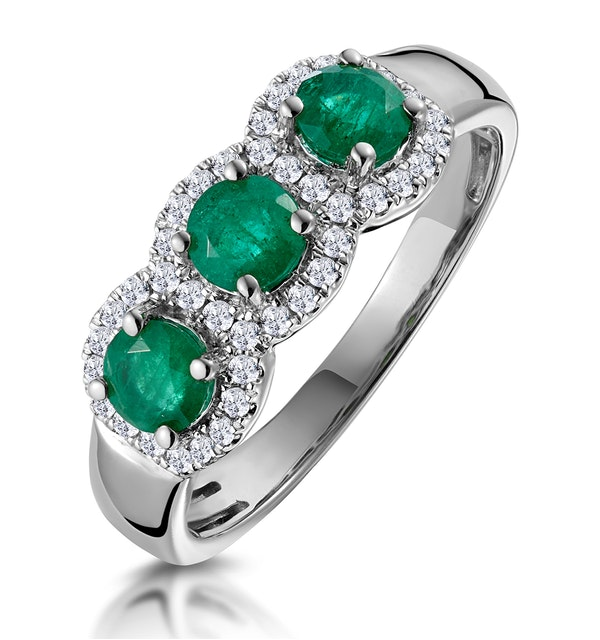 Emerald and Diamond Halo Trilogy Asteria Ring in 18K White Gold - image 1