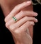 Emerald and Diamond Halo Trilogy Ring in 18K Gold - Asteria Collection - image 2