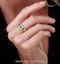 Emerald and Diamond Halo Trilogy Asteria Ring in 18K White Gold - image 2