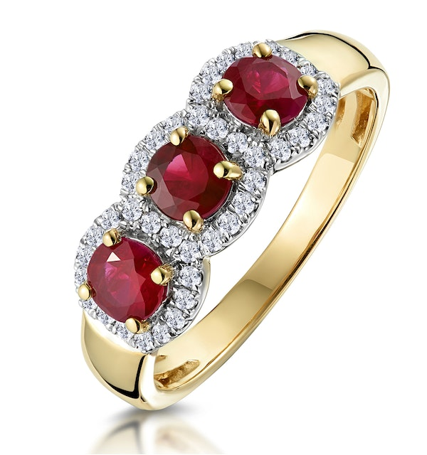 Ruby and Diamond Halo Trilogy Ring in 18K Gold - Asteria Collection - image 1