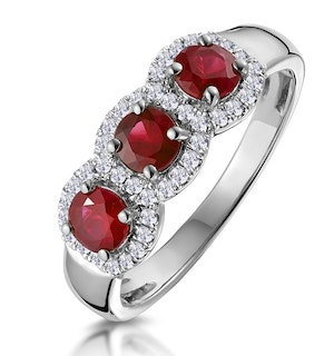 Ruby and Diamond Halo Trilogy Ring in 18KW Gold - Asteria Collection