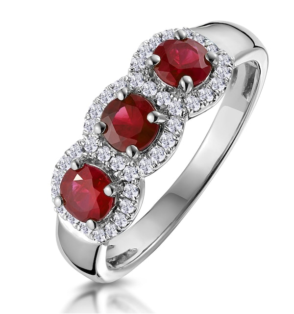 Ruby and Diamond Halo Trilogy Ring in 18KW Gold - Asteria Collection - image 1