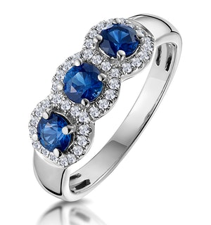 Sapphire and Diamond Halo Trilogy Asteria Ring 18K White Gold  FT86-UY