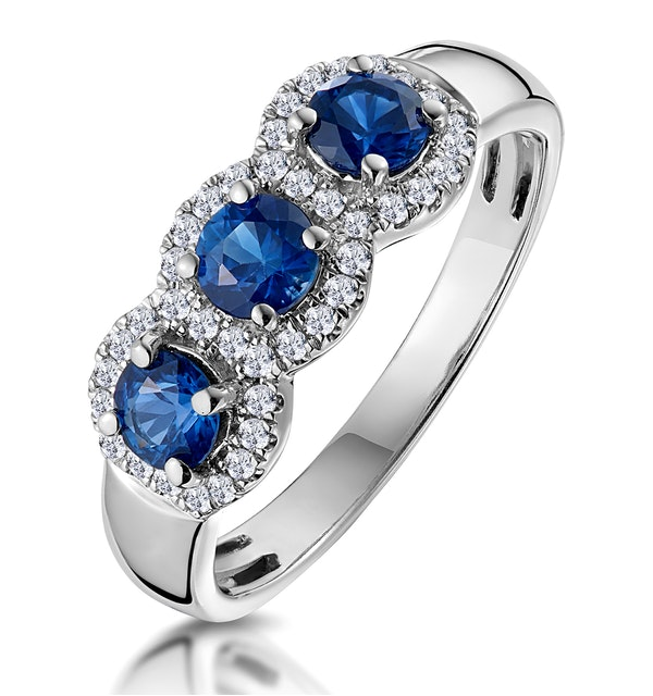 Sapphire and Diamond Halo Trilogy Asteria Ring 18K White Gold  FT86-UY - image 1
