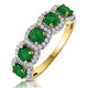 Emerald and Diamond Halo 5 Stone Asteria Ring in 18K Gold - image 1