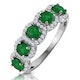 Emerald and Diamond Halo 5 Stone Asteria Ring in 18K White Gold - image 1