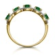 Emerald and Diamond Halo 5 Stone Asteria Ring in 18K Gold - image 3